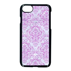 Damask1 White Marble & Purple Colored Pencil (r) Apple Iphone 7 Seamless Case (black) by trendistuff