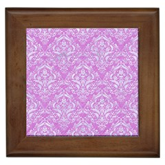 Damask1 White Marble & Purple Colored Pencil Framed Tiles