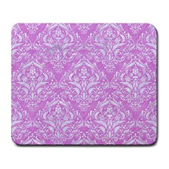 Damask1 White Marble & Purple Colored Pencil Large Mousepads
