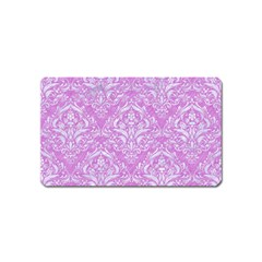Damask1 White Marble & Purple Colored Pencil Magnet (name Card)