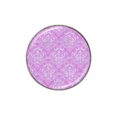 Damask1 White Marble & Purple Colored Pencil Hat Clip Ball Marker (10 Pack)