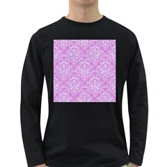 Damask1 White Marble & Purple Colored Pencil Long Sleeve Dark T Shirts