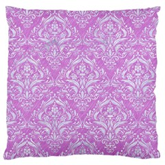 Damask1 White Marble & Purple Colored Pencil Large Cushion Case (two Sides)