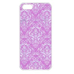 Damask1 White Marble & Purple Colored Pencil Apple Iphone 5 Seamless Case (white)