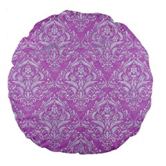 Damask1 White Marble & Purple Colored Pencil Large 18  Premium Round Cushions