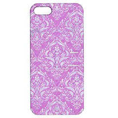 Damask1 White Marble & Purple Colored Pencil Apple Iphone 5 Hardshell Case With Stand by trendistuff