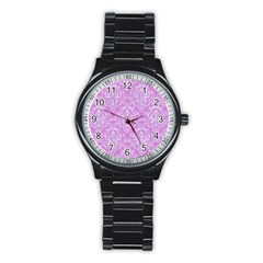 Damask1 White Marble & Purple Colored Pencil Stainless Steel Round Watch