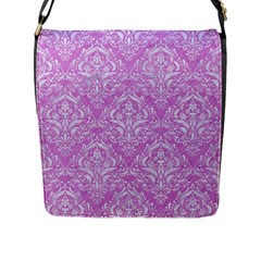 Damask1 White Marble & Purple Colored Pencil Flap Messenger Bag (l)