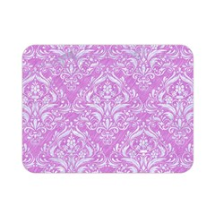 Damask1 White Marble & Purple Colored Pencil Double Sided Flano Blanket (mini)