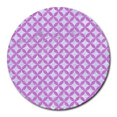 Circles3 White Marble & Purple Colored Pencil (r) Round Mousepads