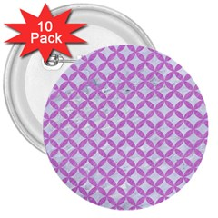 Circles3 White Marble & Purple Colored Pencil (r) 3  Buttons (10 Pack)