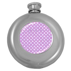 Circles3 White Marble & Purple Colored Pencil (r) Round Hip Flask (5 Oz)