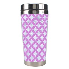 Circles3 White Marble & Purple Colored Pencil (r) Stainless Steel Travel Tumblers