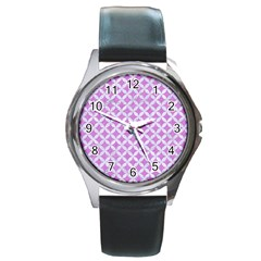 Circles3 White Marble & Purple Colored Pencil Round Metal Watch
