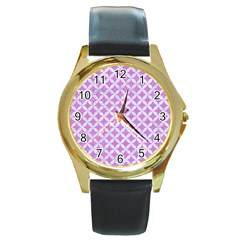 Circles3 White Marble & Purple Colored Pencil Round Gold Metal Watch