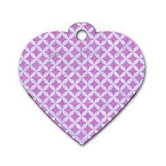 Circles3 White Marble & Purple Colored Pencil Dog Tag Heart (one Side) by trendistuff