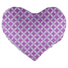 Circles3 White Marble & Purple Colored Pencil Large 19  Premium Heart Shape Cushions