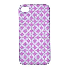 Circles3 White Marble & Purple Colored Pencil Apple Iphone 4/4s Hardshell Case With Stand