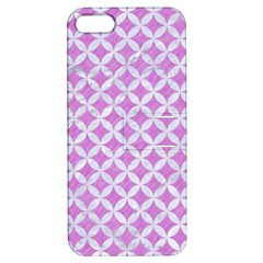 Circles3 White Marble & Purple Colored Pencil Apple Iphone 5 Hardshell Case With Stand