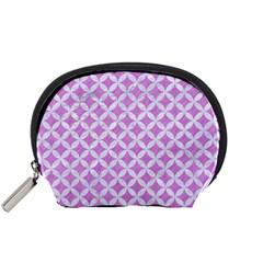 Circles3 White Marble & Purple Colored Pencil Accessory Pouches (small)  by trendistuff