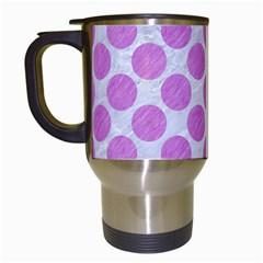 Circles2 White Marble & Purple Colored Pencil (r) Travel Mugs (white)