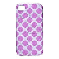 Circles2 White Marble & Purple Colored Pencil (r) Apple Iphone 4/4s Hardshell Case With Stand