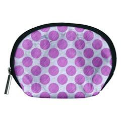 Circles2 White Marble & Purple Colored Pencil (r) Accessory Pouches (medium)