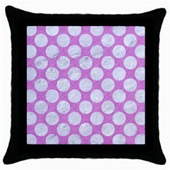 Circles2 White Marble & Purple Colored Pencil Throw Pillow Case (black)