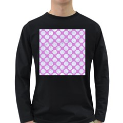 Circles2 White Marble & Purple Colored Pencil Long Sleeve Dark T Shirts