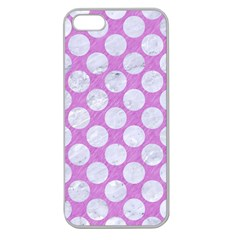 Circles2 White Marble & Purple Colored Pencil Apple Seamless Iphone 5 Case (clear) by trendistuff