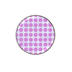 Circles1 White Marble & Purple Colored Pencil (r) Hat Clip Ball Marker