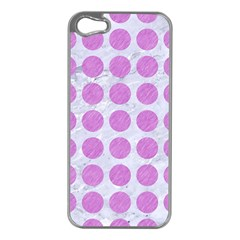 Circles1 White Marble & Purple Colored Pencil (r) Apple Iphone 5 Case (silver)