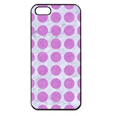 Circles1 White Marble & Purple Colored Pencil (r) Apple Iphone 5 Seamless Case (black) by trendistuff