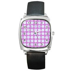Circles1 White Marble & Purple Colored Pencil Square Metal Watch