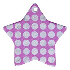 Circles1 White Marble & Purple Colored Pencil Star Ornament (two Sides)