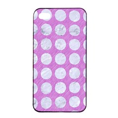 Circles1 White Marble & Purple Colored Pencil Apple Iphone 4/4s Seamless Case (black)