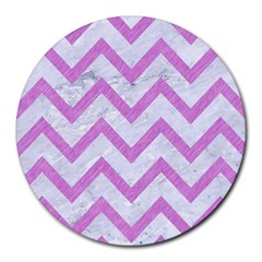 Chevron9 White Marble & Purple Colored Pencil (r) Round Mousepads