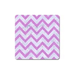 Chevron9 White Marble & Purple Colored Pencil (r) Square Magnet by trendistuff