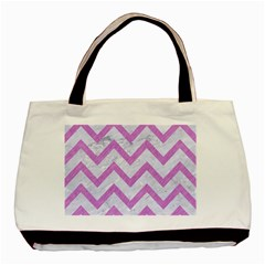 Chevron9 White Marble & Purple Colored Pencil (r) Basic Tote Bag