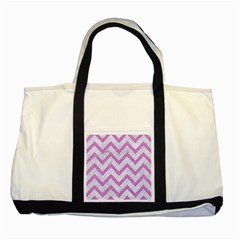 Chevron9 White Marble & Purple Colored Pencil (r) Two Tone Tote Bag