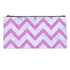 Chevron9 White Marble & Purple Colored Pencil (r) Pencil Cases by trendistuff