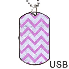 Chevron9 White Marble & Purple Colored Pencil (r) Dog Tag Usb Flash (one Side)