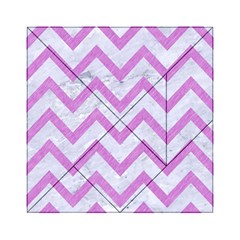 Chevron9 White Marble & Purple Colored Pencil (r) Acrylic Tangram Puzzle (6  X 6 )