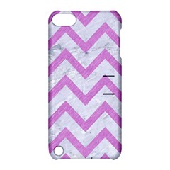 Chevron9 White Marble & Purple Colored Pencil (r) Apple Ipod Touch 5 Hardshell Case With Stand