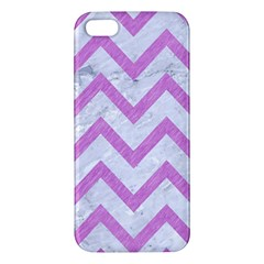Chevron9 White Marble & Purple Colored Pencil (r) Apple Iphone 5 Premium Hardshell Case