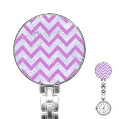 Chevron9 White Marble & Purple Colored Pencil (r) Stainless Steel Nurses Watch