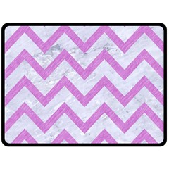 Chevron9 White Marble & Purple Colored Pencil (r) Double Sided Fleece Blanket (large)