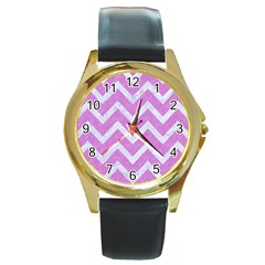 Chevron9 White Marble & Purple Colored Pencil Round Gold Metal Watch