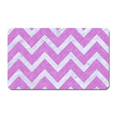 Chevron9 White Marble & Purple Colored Pencil Magnet (rectangular)