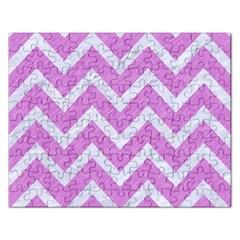 Chevron9 White Marble & Purple Colored Pencil Rectangular Jigsaw Puzzl